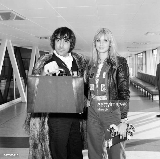 Keith Moon drummer of The Who rock group pictured leaving Heathrow Airport for holiday in Los Angeles with girlfriend Annette WalterLax 12th November...