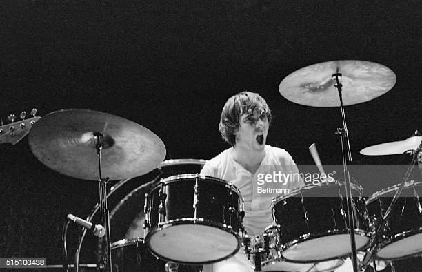 """Keith Moon, drummer with the British rock group, The Who, is lost in his work during a performance of its celebrated rock opera, """"Tommy"""", at the..."""