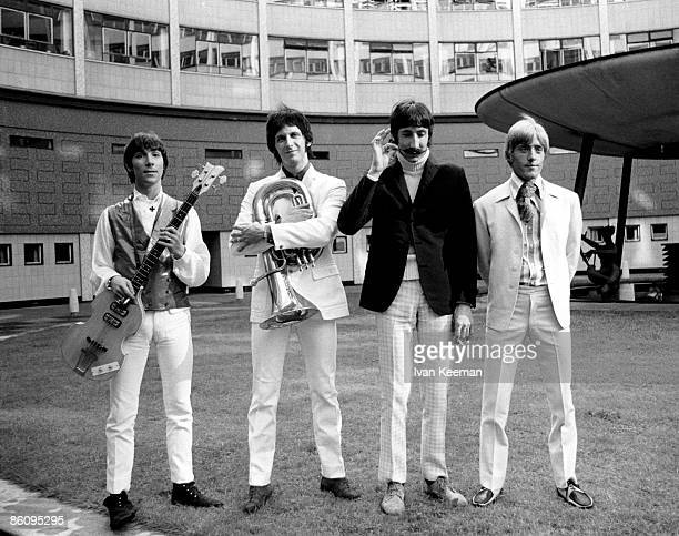 LR Keith Moon John Entwistle Pete Townshend Roger Daltrey of The Who pose for a group portrait during filming for 'A The Whole Scene Going' BBC TV...