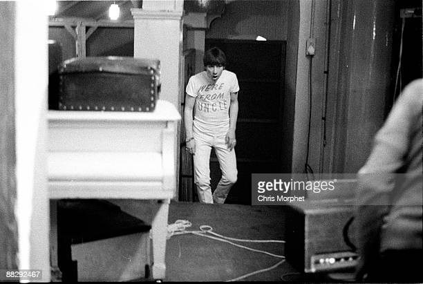 Keith Moon of The Who backstage wearing a tshirt reading We're From UNCLE at a concert played without Roger Daltrey at Wimbledon Palais on May 13th...