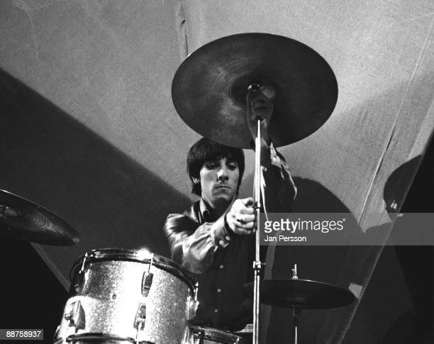 Keith Moon of The Who performing on the Danish TV show 'Klar I Studiet' on October 20th 1966 in Copenhagen Denmark