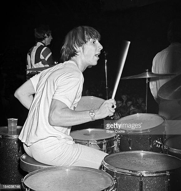 Keith Moon of The Who performs on stage at the Queen's Hall Leeds on 14th October 1966.
