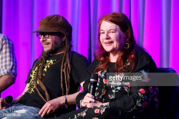 Keith Morris and Allison Anders speak onstage at More Fun In The New World With John Doe Tom DeSavia at the GRAMMY Museum on June 04 2019 in Los...