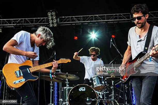 Keith Murray Andy Burrows and Chris Cain of We Are Scientists perform at the Bumbershoot Music and Arts Festival on August 31 2014 in Seattle...