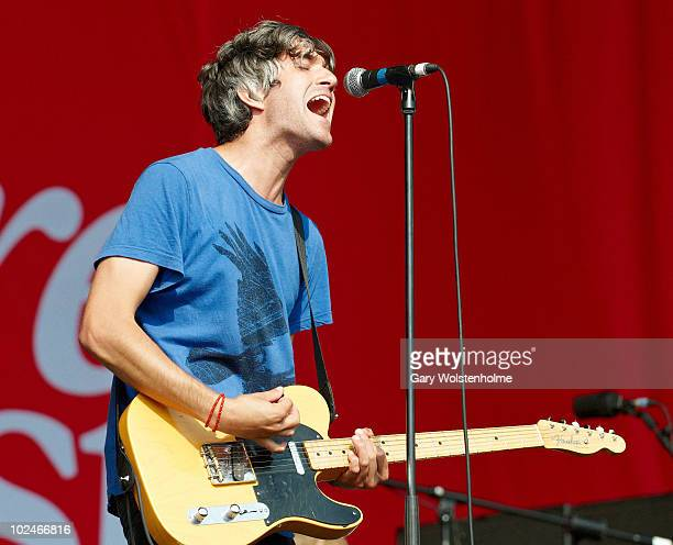 Keith Murray of We Are Scientists performs on stage on the fourth day of Glastonbury Festival at Worthy Farm on June 27, 2010 in Glastonbury, England.