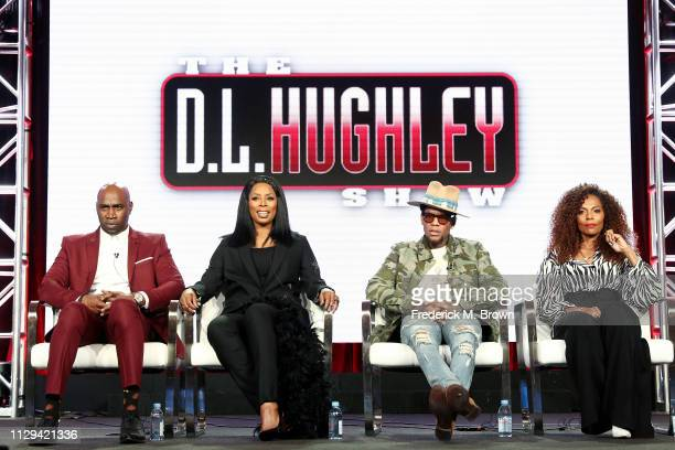 Keith Neal and Tasha Smith of 'Uncensored' and DL Hughely and Jasmine Sanders of 'The DL Hughley Talk Show' speak during the TV One/CleoTV segment of...