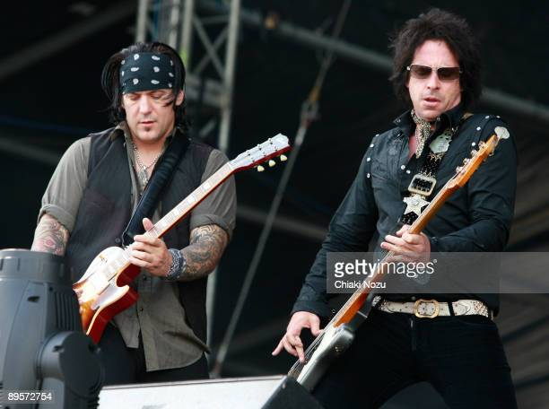 Keith Nelson and Jimmy Ashhurst of Buckcherry performs on stage at Knebworth House on August 2, 2009 in Stevenage, England.