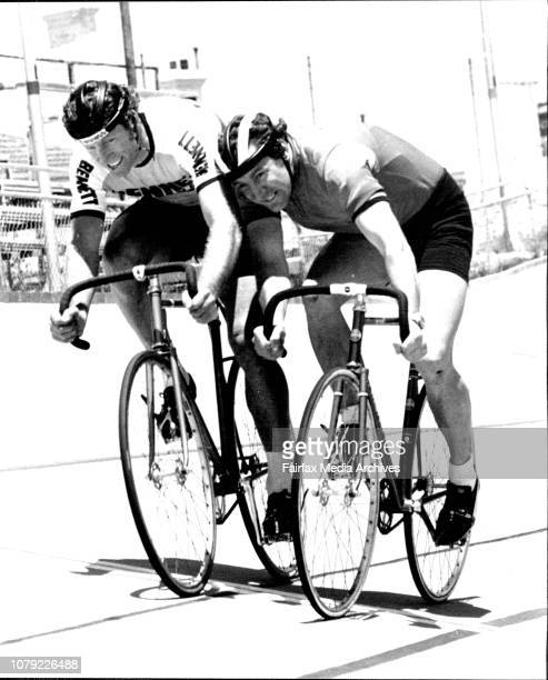 Keith Oliver sprints against Carl Wilson at the trackCyclists were practicing at Camperdown Velodrome today for the Bennett Bicycles Sydney Thousand...