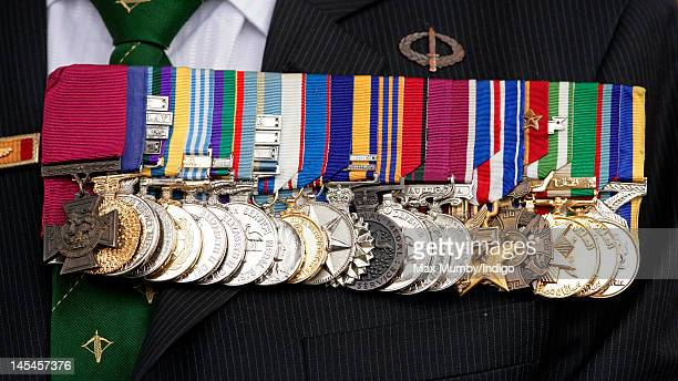 Keith Payne's Victoria Cross and other medals seen as he attends a Victoria Cross and George Cross Association Reunion Service at St...
