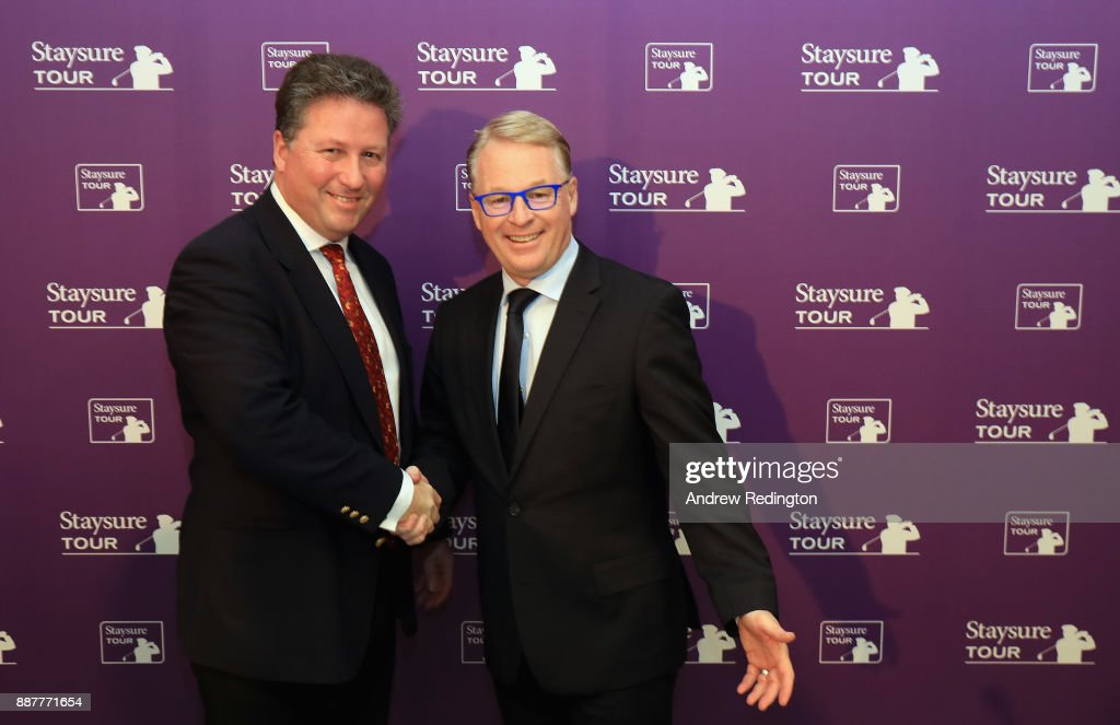 "Keith Pelley, Chief Executive of the European Tour, and Julian Kearney, CEO of Staysure, are pictured together at a press conference to announce the European Senior Tour will now ne named the""Staysure Tour"" during the European Tour Hilton Golfer of the Year Lunch at the Waldorf Hilton hotel on December 7, 2017 in London, England."