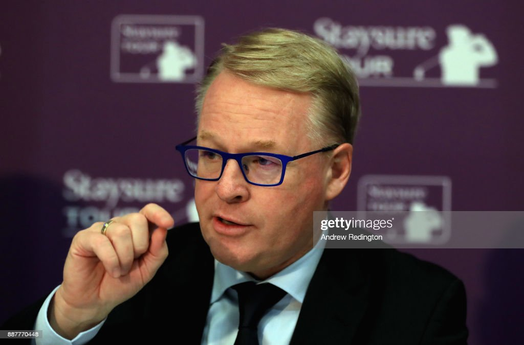 "Keith Pelley, Chief Executive of the European Tour, speaks at a press conference to announce the European Senior Tour will now ne named the""Staysure Tour"" during the European Tour Hilton Golfer of the Year Lunch at the Waldorf Hilton hotel on December 7, 2017 in London, England."