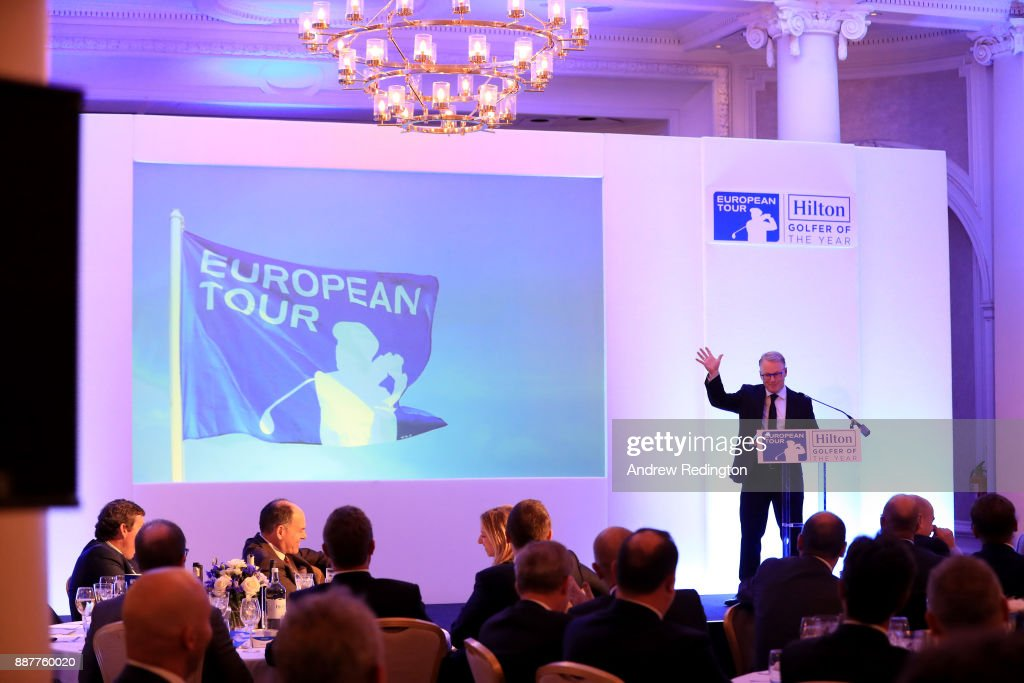 Keith Pelley, Chief Executive of the European Tour, speaks during the European Tour Hilton Golfer of the Year Lunch at the Waldorf Hilton hotel on December 7, 2017 in London, England.