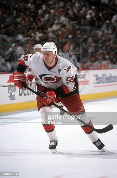 Keith Primeau of the Carolina Hurricanes skates on the ice during an NHL game in March 1998 at the Greensboro Coliseum in Greensboro North Carolina