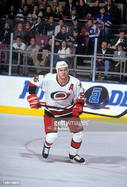 Keith Primeau of the Carolina Hurricanes skates on the ice during an NHL game against the New York Rangers during the 1998 season at the Madison...