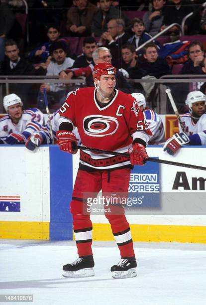Keith Primeau of the Carolina Hurricanes skates on the ice during an NHL game against the New York Rangers on December 23 1998 at the Madison Square...