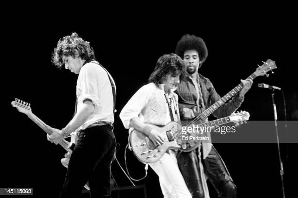 Keith Richard, Ron Wood and Stanley Clarke perform with the New Barbarians at Oakland Coliseum in Oakland, California on May 20, 1979