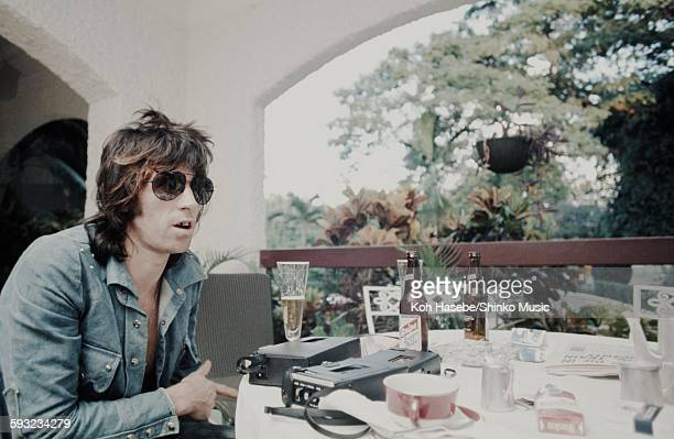 Keith Richard The Rolling Stones getting interviewed in Kingston Jamaica while recording Goats Head Soup album Kingston December 1972