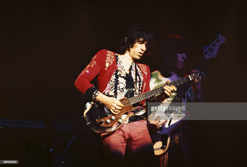 Keith Richards (left) and Bill Wyman of the Rolling Stones perform live at the Roundhouse in London, 14th March 1971.