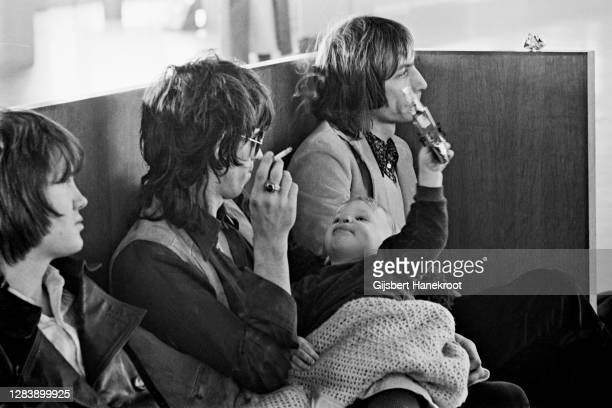 Keith Richards and Chalrie Watts of The Rolling Stones at Schiphol Airport, Netherlands, returning home after the last date of The Rolling Stones...