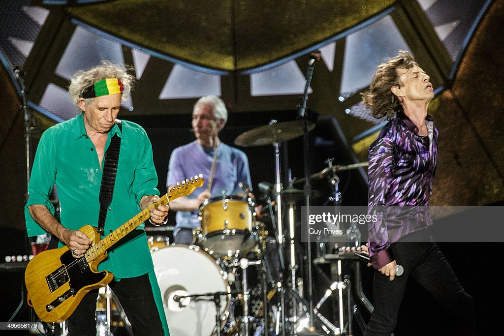 Keith Richards and Charlie Watts and Mick Jagger of The Rolling Stones perform on stage at Park HaYarkon on June 4, 2014 in Tel Aviv, Israel.
