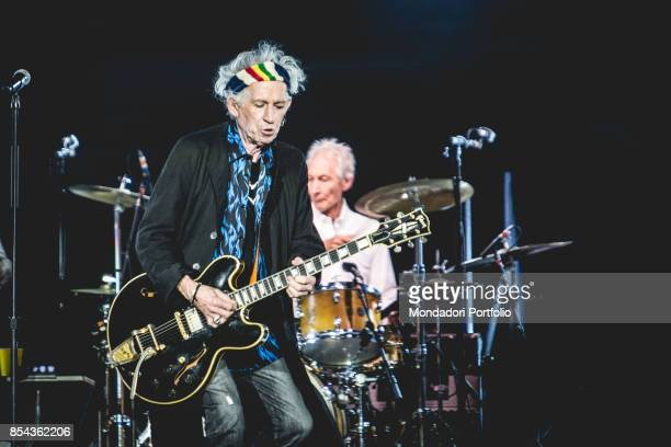 Keith Richards and Charlie Watts guitarist and drummer of british Rock band The Roling Stones performs at Lucca Summer Festival Lucca September 23...
