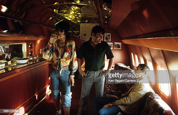 Keith Richards and Charlie Watts of the Rolling Stones are photographed on their private plane in 1975 in Kansas City Kansas CREDIT MUST READ Ken...