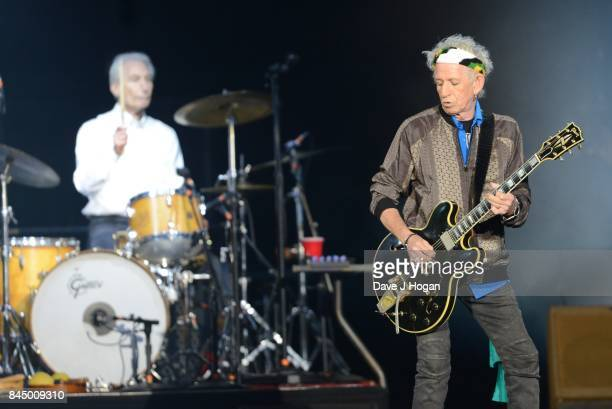 Keith Richards And Charlie Watts of The Rolling Stones perform/s on the opening night of their European 'No Filter' tour on September 9 2017 in...