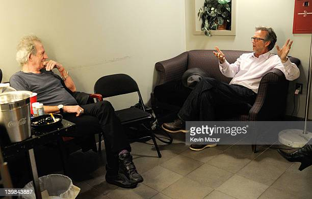 Keith Richards and Eric Clapton backstage during Howlin For Hubert A Concert to Benefit the Jazz Foundation of America at The Apollo Theater on...