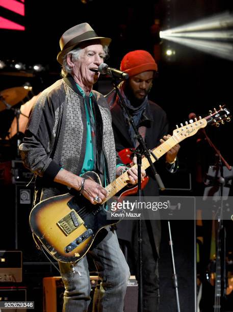 Keith Richards and Gary Clark Jr perform onstage at the Second Annual LOVE ROCKS NYC A Benefit Concert for God's Love We Deliver at Beacon Theatre on...