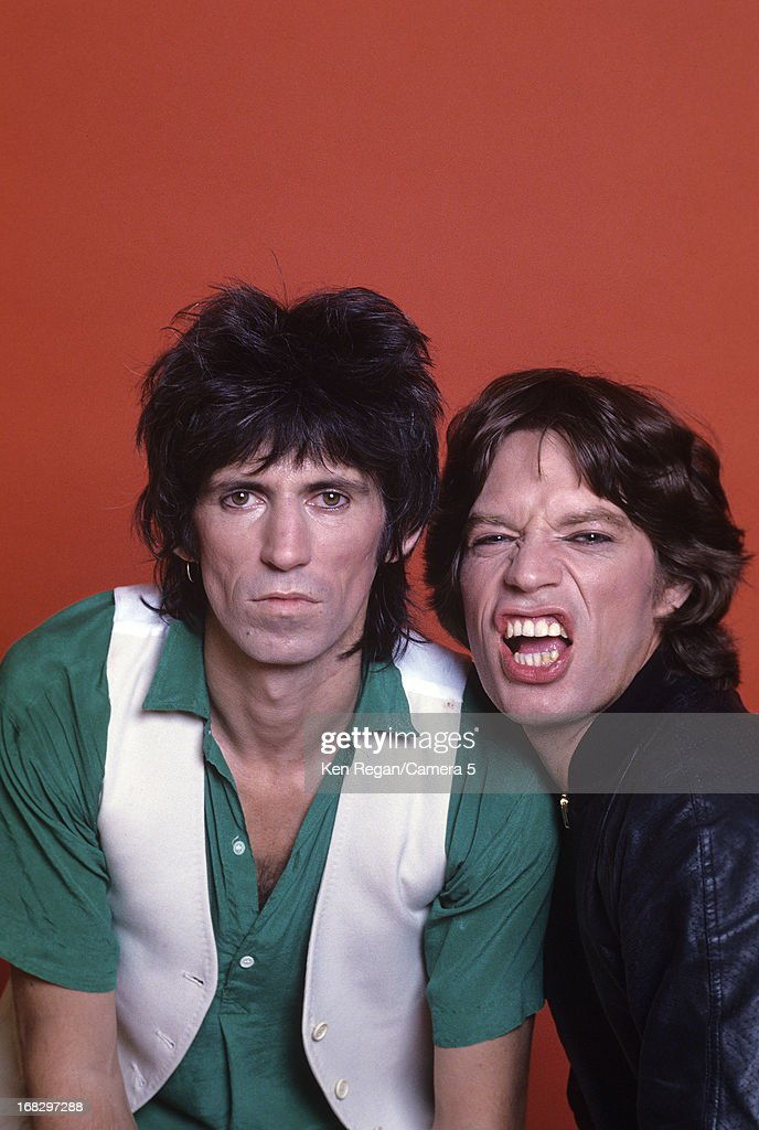 Keith Richards and Mick Jagger of the Rolling Stones are photographed at the Camera 5 studios in 1977 in New York City.