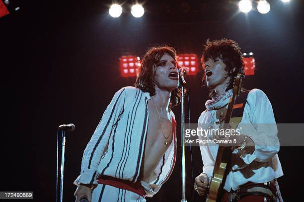 Keith Richards and Mick Jagger of the Rolling Stones are photographed on stage during the Rolling Stones Tour of the Americas in the summer of 1975...