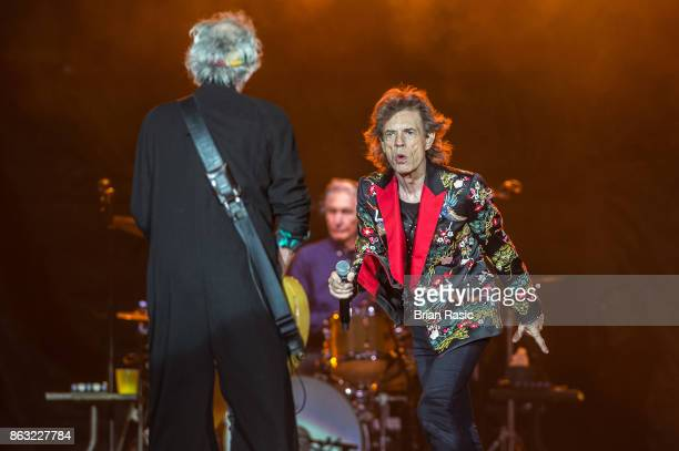 Keith Richards and Mick Jagger of The Rolling Stones perform live on stage at U Arena on October 19 2017 in Nanterre France