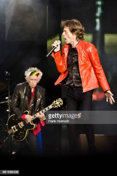 Keith Richards and Mick Jagger of The Rolling Stones perform live on stage during a concert at the Olympiastadion on June 22 2018 in Berlin Germany