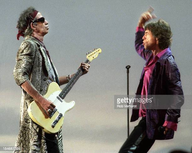 Keith Richards and Mick Jagger of The Rolling Stones perform on stage on the Bridges to Babylon World Tour Malieveld Den Haag Netherlands 5th...