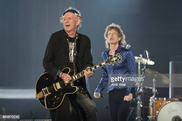 Keith Richards and Mick Jagger of The Rolling Stones perform on stage at Estadi Olimpic on September 27 2017 in Barcelona Spain