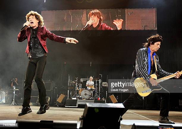 Keith Richards and Mick Jagger of the Rolling Stones performs on stage on the third day of the Isle of Wight Festival 2007 in Newport on June 10 2007...