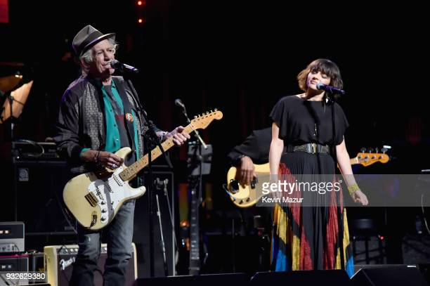 Keith Richards and Norah Jones perform onstage at the Second Annual LOVE ROCKS NYC A Benefit Concert for God's Love We Deliver at Beacon Theatre on...
