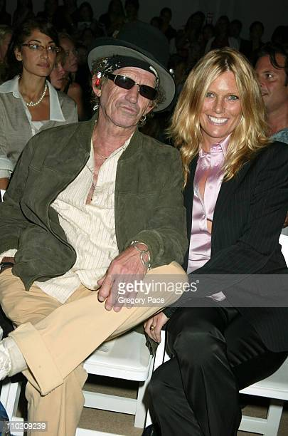 Keith Richards and Patti Hansen during Olympus Fashion Week Spring 2005 Tuleh Backstage and Front Row at Plaza Tent Bryant Park in New York City New...