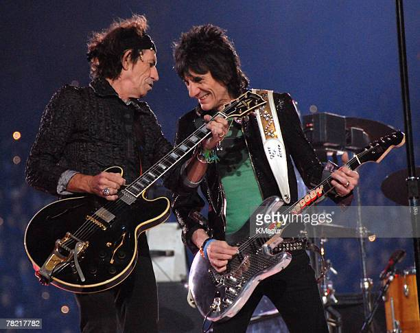 Keith Richards and Ron Wood of The Rolling Stones perform at halftime during Super Bowl XL between the Pittsburgh Steelers and Seattle Seahawks at...