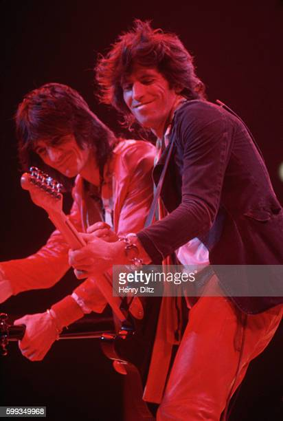 Keith Richards and Ron Wood play guitars on stage at a New Barbarians show The New Barbarians were a side project of Keith Richards Ron Wood and...