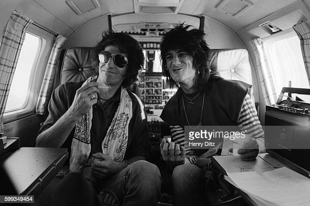 Keith Richards and Ron Wood ride in a private jet to San Diego the next stop on their 1979 New Barbarians tour