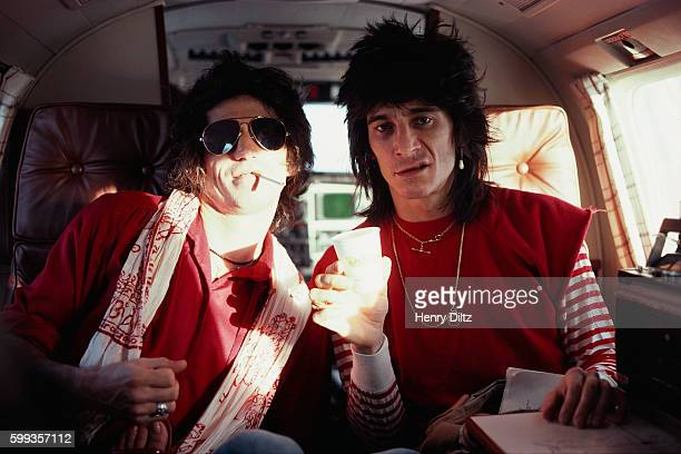 Keith Richards and Ron Wood ride in their private jet during their 1979 New Barbarians tour