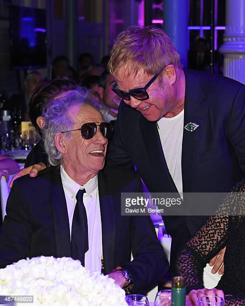 Keith Richards and Sir Elton John attend the GQ Men Of The Year Awards at The Royal Opera House on September 8 2015 in London England