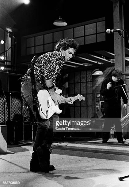 Keith Richards and The Expensive Winos perform onstage at WTTW TV studios for a production of Center Stage in Chicago Illinois USA on December 28 1992