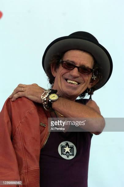 """Keith Richards and The Rolling Stones perform during a press conference to announce """"The Bigger Bang"""" world tour at the Julliard Music School May 10,..."""