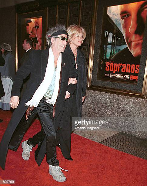 Keith Richards and wife Patty Hanson arrive for the world premiere of the third season of the HBO series The Sopranos February 21 2001 at Radio City...
