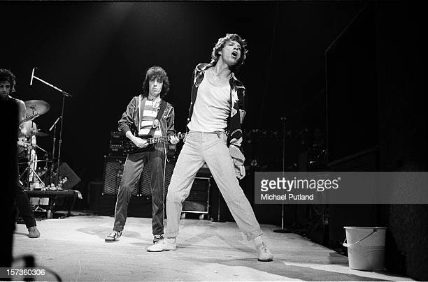 Keith Richards Bill Wyman and Mick Jagger of the Rolling Stones perform on stage during their UK tour June 1982