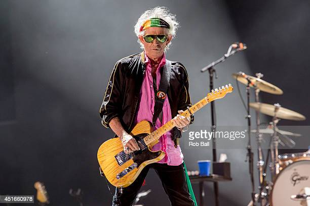Keith Richards from the Rolling Stones headlines the Roskilde Festival 2014 on July 3 2014 in Roskilde Denmark