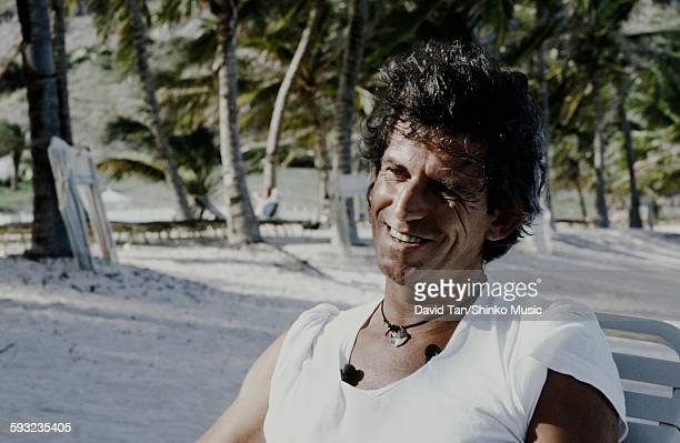 Keith Richards getting interviewed on a beach unknown 1986