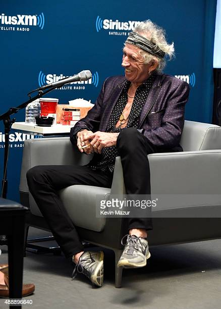 Keith Richards goes one on one with David Fricke at SIRIUS XM Studio on August 6 2015 in New York City InDepth interview to Air on SiriusXM's The...
